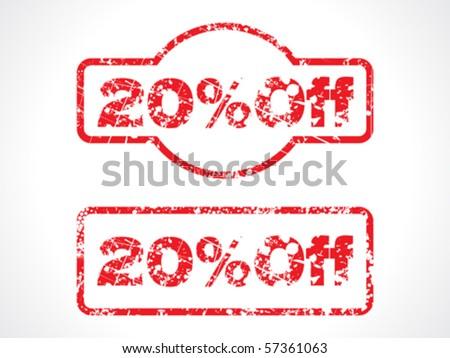 20% off grunge stamp vector illustration
