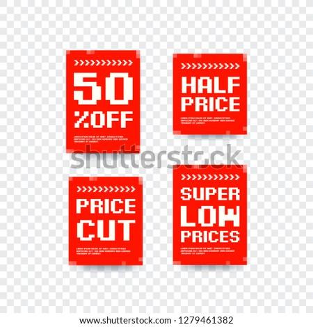 50% Off, Half Price, Price Cut & Super Low Prices Bitmap Design Vector Labels