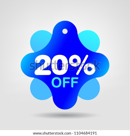 20% OFF Holiday Special Discount Price Label. Special Offer Sale Banner. Discount Sticker. Best Offer Price Tag. Season 20 OFF Blue Color Trendy Shape Tag. Vector illustration.