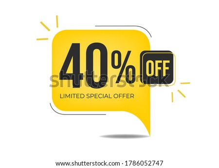 40% off limited special offer. Banner with forty percent discount on a yellow square balloon. ストックフォト ©