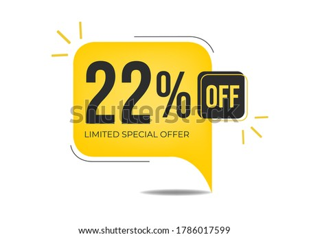 22% off limited special offer. Banner with twenty-two percent discount on a yellow square balloon. Сток-фото ©