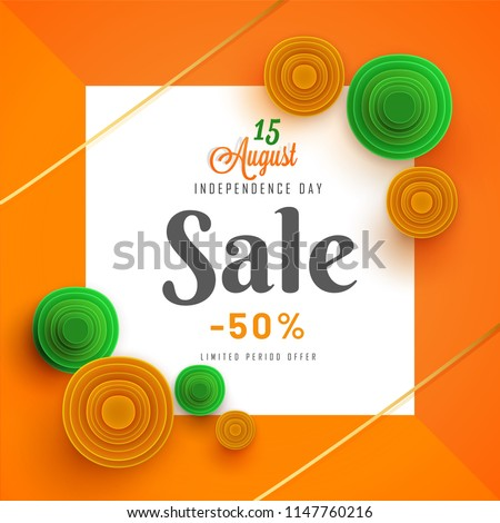 50% off offer sale poster design for Independence Day celebration with saffron and green quilling flowers decorated square frame. 15 August celebration concept.