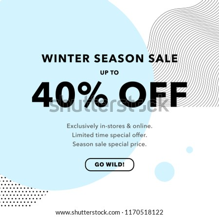 40% OFF Price Discount. Winter Season Sale. Promo banner design template. Trendy background. Flyer, poster, card, label, banner design. Vector illustration EPS10.