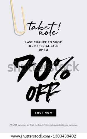 70% Off Promotion Sale Web Banner. Call to Action Creative Design Concept Take Note about Last Chance Special Promo Deals up to 70% OFF Price Discount Poster. Fashion and Modern Vector Illustration.