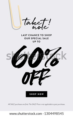 60% Off Promotion Sale Web Banner. Call to Action Creative Design Concept Take Note about Last Chance Special Promo Deals up to 60% OFF Price Discount Poster. Fashion and Modern Vector Illustration.