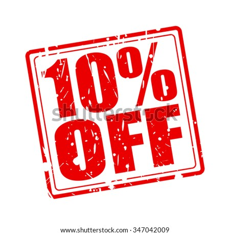 10% OFF red stamp text on white