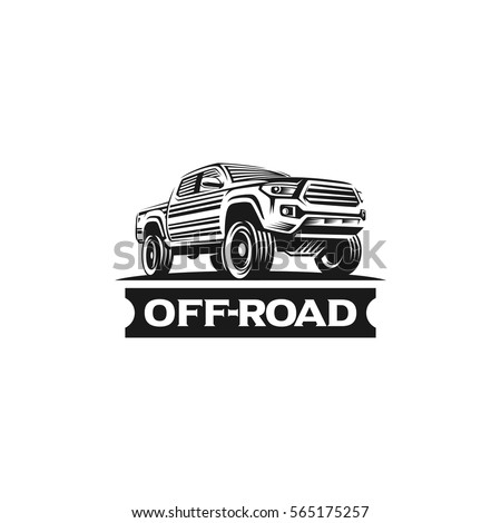 off road car monochrome label
