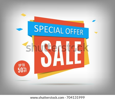 50% Off sale banner on a gray background, special offer tag