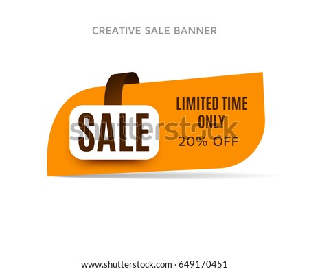20% off sale banner with shadow on a white background. Orange sticker or discount label. Web special offer tag. Vector promotion poster, badge template, eps10