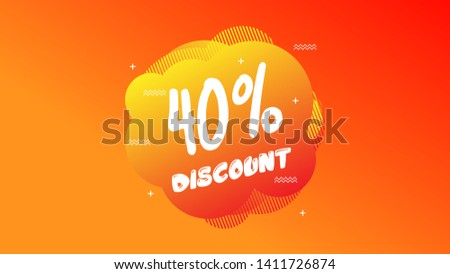 40% OFF Sale Discount Banner. Discount banner. Vector illustration with liquid background.