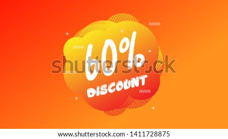 60% OFF Sale Discount Banner. Discount banner. Vector illustration with liquid background.