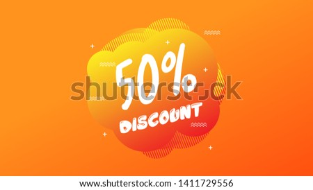 50% OFF Sale Discount Banner. Discount banner. Vector illustration with liquid background.