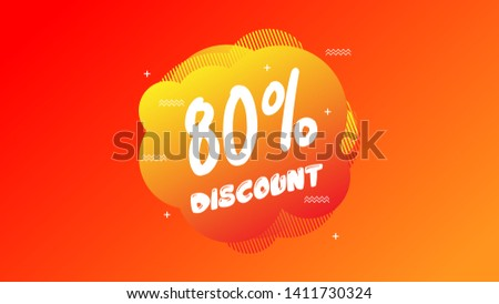 80% OFF Sale Discount Banner. Discount banner. Vector illustration with liquid background.