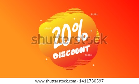 20% OFF Sale Discount Banner. Discount banner. Vector illustration with liquid background.