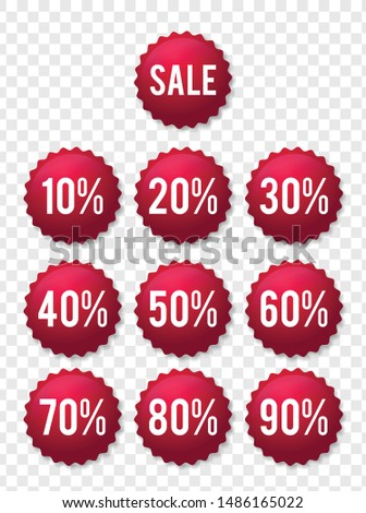 10-90% OFF Sale Discount Banner. Discount offer price tag