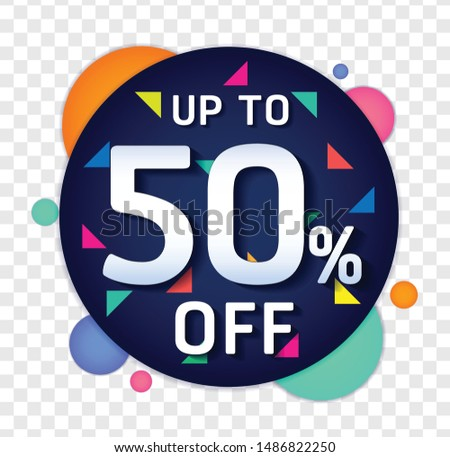 50% OFF Sale Discount Banner. Discount offer price tag