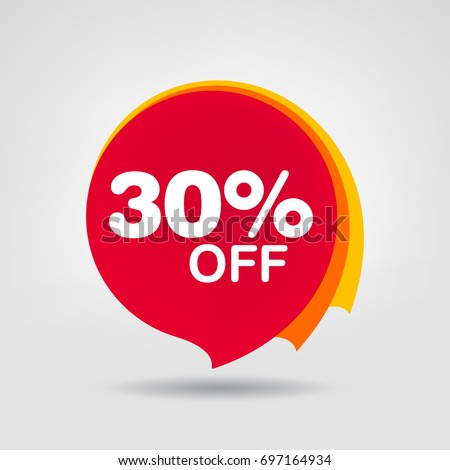 30% OFF Sale Discount Banner. Discount offer price tag. Special offer sale red label. Vector Modern Sticker Illustration.