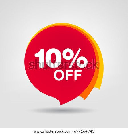 10% OFF Sale Discount Banner. Discount offer price tag. Special offer sale red label. Vector Modern Sticker Illustration. Isolated Background