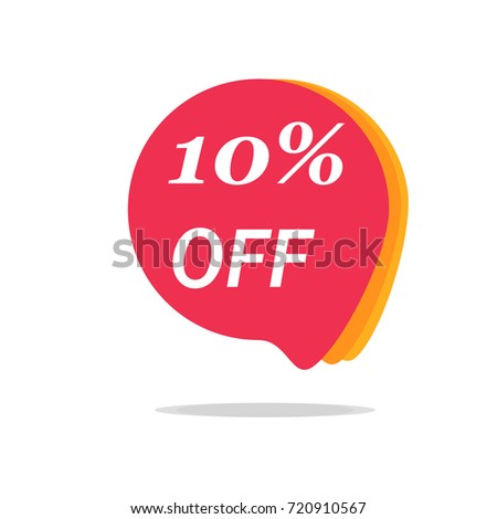 10% OFF Sale Discount Banner. Discount offer price tag. Special offer sale red label. Vector Modern Sticker Illustration.