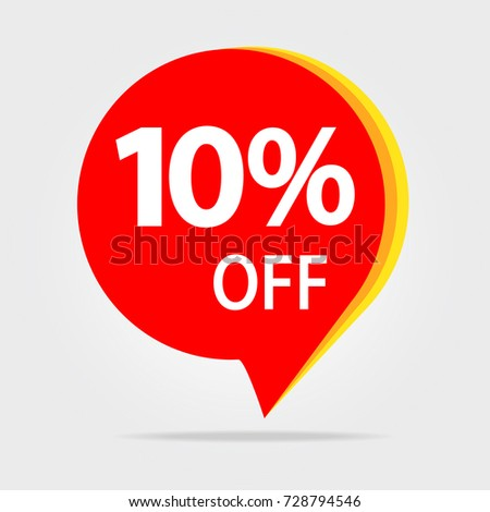 10% OFF Sale Discount Banner. Offer price tag. Special offer sale red label. Vector Modern Sticker Illustration. Isolated Background