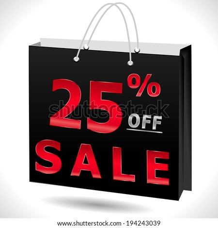 25% off, 25 sale discount, 30 off text with shopping bag - EPS10