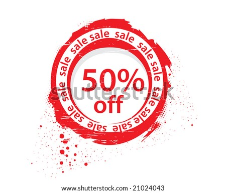 50 % off sale tags, vector illustration