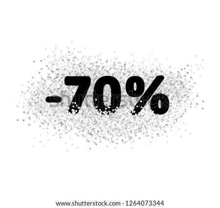 70 % off. Simple Discount Graphic. Sale Vector Illustration. Black Letters with White Confetti. White Background. White Confetti Isolated on White. #1264073344
