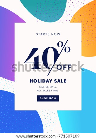 40% OFF Special Offer Discount. Big Sale Promotion Vector Poster. Price Discount Offer Design. Season Sale Promo Colorful Abstract Design Sticker or Invitation Coupon. ストックフォト ©