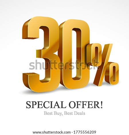 30% Off Special Offer Gold 3D Digits Banner, Design Template Icon Thirty Percent. Sale, Discount. Glossy Vector Numbers. Illustration Isolated On White Background. Stock photo ©