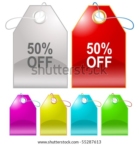50% OFF. Vector tags.