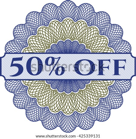 50% Off written inside abstract linear rosette