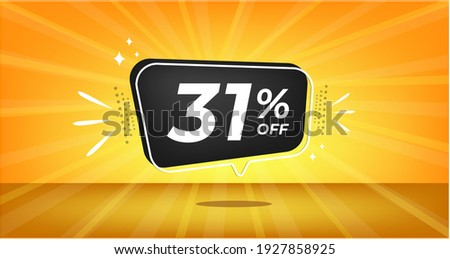 31% off. Yellow banner with thirty-one percent discount on a black balloon for mega big sales. Zdjęcia stock ©