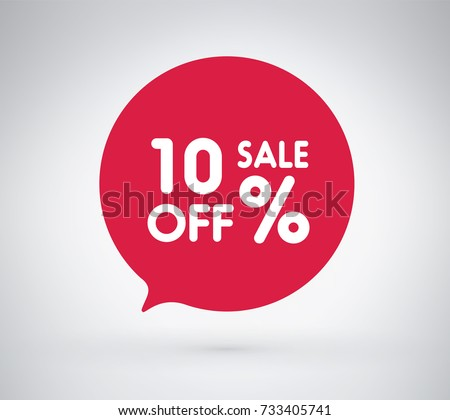 10% offer label sticker, sale discount price tag. Vector illustration tag, label design with stylish red color for your trendy design discount campaign promotion in several occasion season sale.