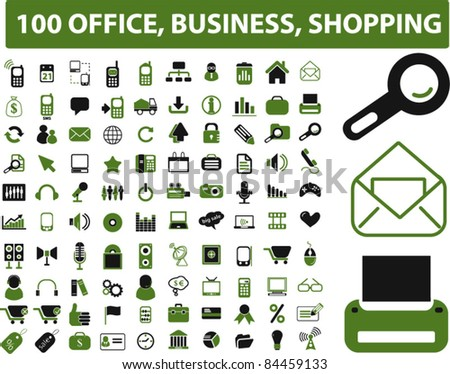 100 office & business iicons, signs, vector illustrations set - stock vector