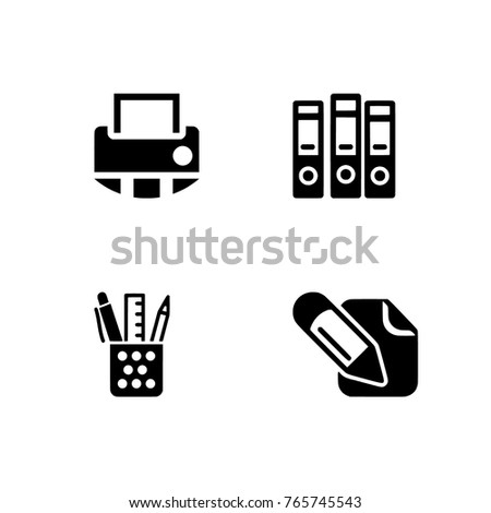 Office equipment vector icons set. Illustration isolated for graphic and web design. Professional, 256x256 pixel perfect icons optimized for both large and small resolutions. Transparent background.