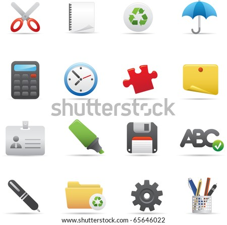 09 Office Icons Professional vector set for your website, application, or presentation. The graphics can easily be edited color individually and be scaled to any size