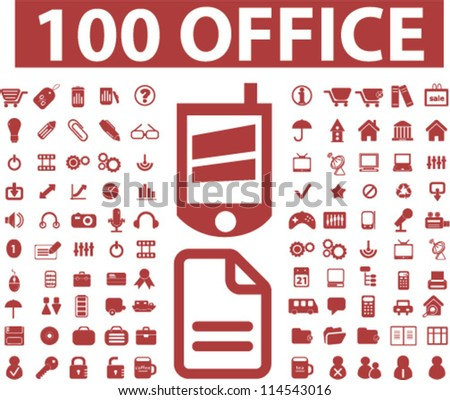 100 office icons set, vector