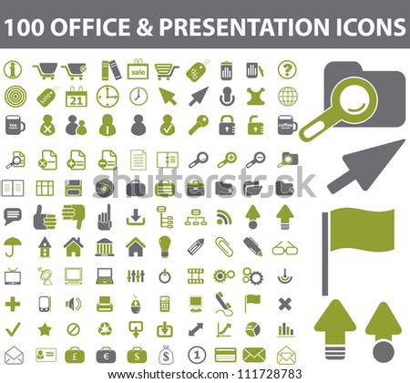 100 office & presentation icons set, vector