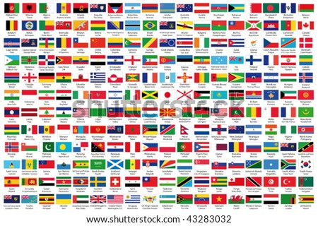 216 Official flags of the world in alphabetical order, with official Country and Capital name, verified by teachers for accuracy.