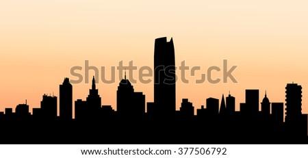 Oklahoma Sunset City Skyline - Vector