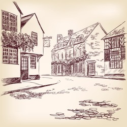 old English street  hand drawn vector llustration