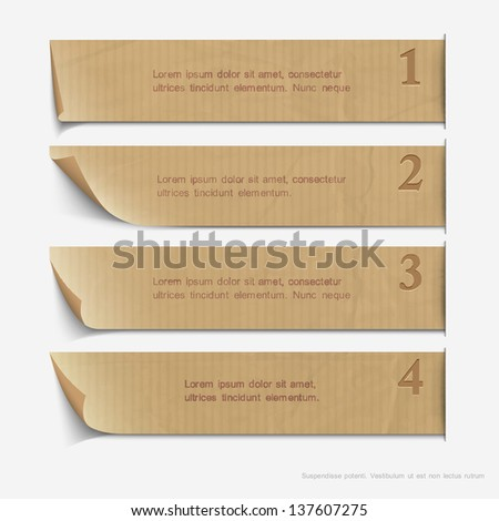Old paper numbered banners. Vector website layout