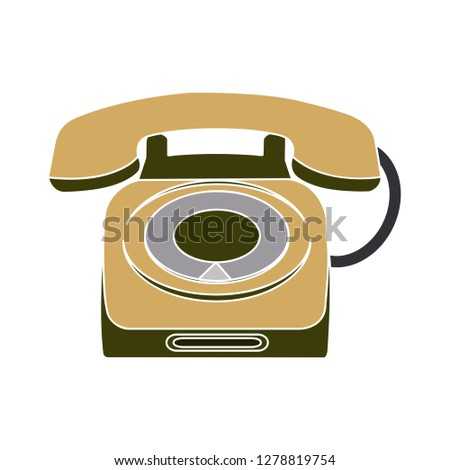 old phone icon-telephone sign-retro symbol-connection illustration-line isolated-antique symbol