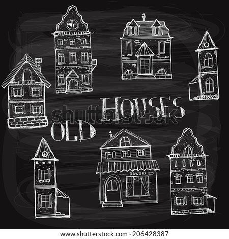 7 old styled houses drawn with