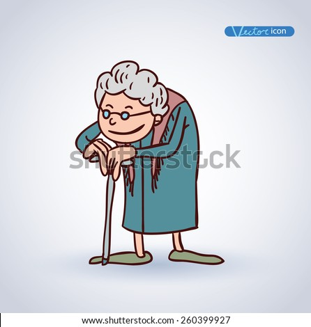 old woman  vector illustration