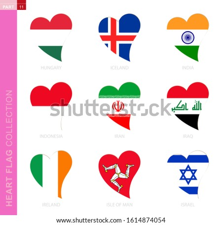Сollection of flags in the shape of a heart. 9 heart icon with flag of country Hungary, Iceland, India, Indonesia, Iran, Iraq, Ireland, Isle of Man, Israel Foto stock ©