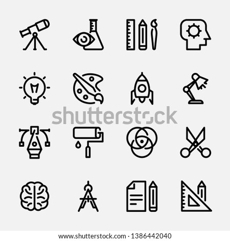 Сollection of linear web icons, symbols, pictograms on the topic: creativity, scientific research, design thinking, training, searching for ideas, creating a startup, laboratory work, thinking.