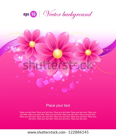 olorful background with pink flowers Easy to edit Perfect for invitations or announcements