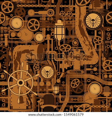 Сomplex mechanism, a seamless pattern consisting of gears, belt, ventilation pipes, cranes and flashlights, and other mechanical elements. Submarine mechanism. space ship. Vector illustration
