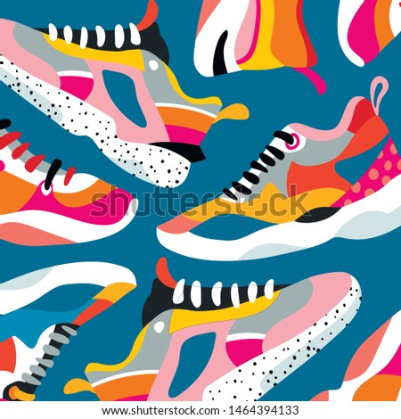 Сomposition of stylish sneakers in ugly-shoes style in orange, red, pink tones on a blue background